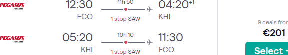 Cheap return flights from many cities in Europe to Karachi, Pakistan for €201 or £264!