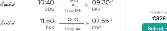 Full-service flights from Paris to Bangkok or Singapore for €334!