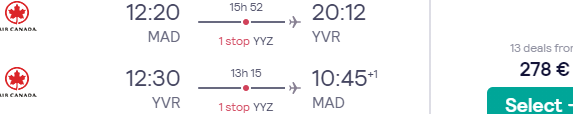 Cheap return flights from Madrid to Canada (Vancouver, Calgary, Edmonton, Toronto or Montreal) for €278!