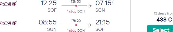 Qatar Airways flights from Sofia to Vietnam (HCMC, Hanoi) from €438 return!
