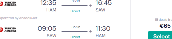 Full-service return tickets from main airports in Germany to Istanbul, Turkey from €65!