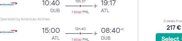 Cheap return flights from selected European cities to Atlanta just from €217 or £257!