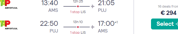 High-season flights from many European cities to Punta Cana, Dominican Republic for £253 or €308!