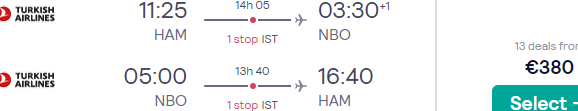 Full-service return flights from many cities in Germany to Nairobi, Kenya for €380!