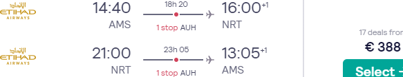 Full-service return flights from Amsterdam to Tokyo, Japan with Etihad for €388!