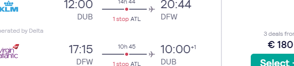 Super cheap return flights from Dublin or Amsterdam to Dallas from €181!