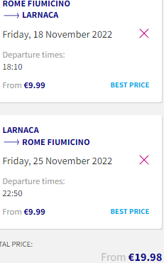 Return flights from Rome to Larnaca, Cyprus for €9.98!