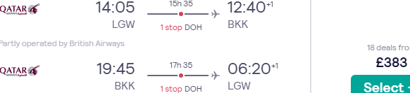 5* Qatar Airways return flights from London to Bangkok, Thailand for £383!