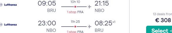 Lufthansa Group full-service flights from Brussels to Nairobi, Kenya for €369!